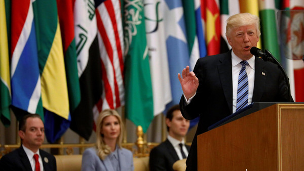 Trump delivers remarks to the Arab Islamic American Summit in Riyadh